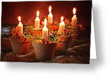 Candles In Terracotta Pots Greeting Card by Amanda And Christopher Elwell