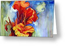 Canna Lilies Greeting Card by Priti Lathia