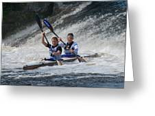 Canoe Action Greeting Card by Joe Houghton