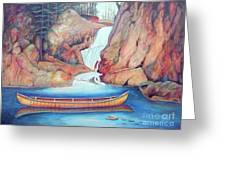 Canoe And Waterfall Greeting Card by Pete  TSouvas