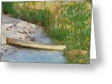 Canoe On Beach Greeting Card by Nada Frazier