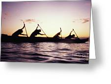 Canoe Race Greeting Card by Bob Abraham - Printscapes