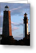 Cape Henry Lighthouses In Virginia Greeting Card by Skip Willits