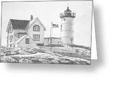 Cape Neddick Light House Drawing Greeting Card by Dominic White