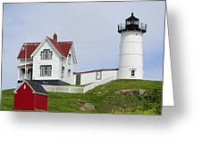 Cape Neddick Light Greeting Card by Luke Moore