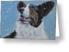 Cardigan Welsh Corgi In Snow Greeting Card by Lee Ann Shepard