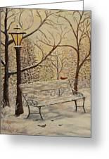 Cardinal In The Snow Greeting Card by Douglas Ann Slusher