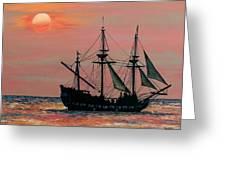Caribbean Pirate Ship Greeting Card by Susan DeLain
