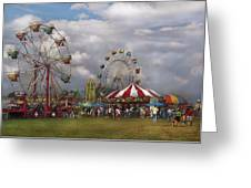 Carnival - Traveling Carnival Greeting Card by Mike Savad