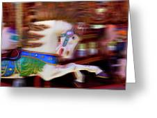 Carousel Horse In Motion Greeting Card by Garry Gay