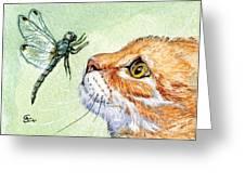 Cat And Dragonfly  Greeting Card by Svetlana Ledneva-Schukina