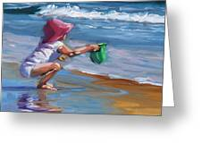 Catching The Wave Greeting Card by Laura Lee Zanghetti