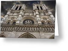 Cathedral Notre Dame of Paris. France   Greeting Card by BERNARD JAUBERT
