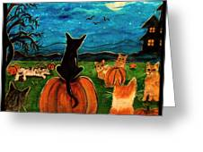 Cats in pumpkin patch Greeting Card by Paintings by Gretzky