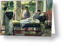 Catullus Reading His Poems Greeting Card by Sir Lawrence Alma Tadema