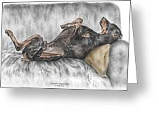 Caution Guard Dog - Doberman Pinscher Print color tinted Greeting Card by Kelli Swan