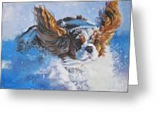 Cavalier King Charles Spaniel Blenheim In Snow Greeting Card by Lee Ann Shepard