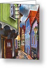 Cesky Krumlov Old Street 1 Greeting Card by Yuriy  Shevchuk