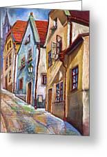 Cesky Krumlov Old Street 2 Greeting Card by Yuriy  Shevchuk