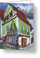 Cesky Krumlov Old Street 3 Greeting Card by Yuriy  Shevchuk