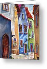 Cesky Krumlov Old Street Greeting Card by Yuriy  Shevchuk