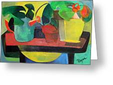 Cezanne Potting Stand Greeting Card by Betty Pieper