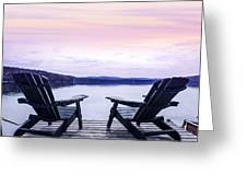 Chairs On Lake Dock Greeting Card by Elena Elisseeva