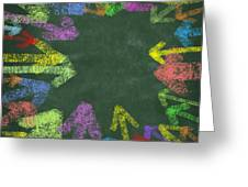 Chalk Drawing Colorful Arrows Greeting Card by Setsiri Silapasuwanchai