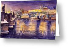 Charles Bridge and Prague Castle with the Vltava River Greeting Card by Yuriy  Shevchuk