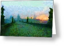 Charles Bridge at Dawn Greeting Card by Peter Kupcik