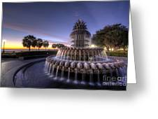 Charleston Pineapple Fountain Sunrise Greeting Card by Dustin K Ryan