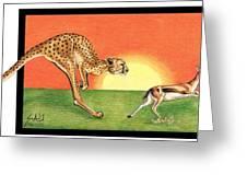 Cheetahroo On The Hunt Greeting Card by Sheryl Unwin