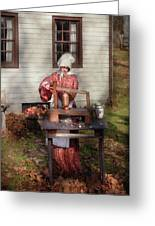 Chef - Coring Apples Greeting Card by Mike Savad