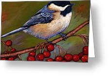 Cherries And Chickadee Greeting Card by Johnathan Harris
