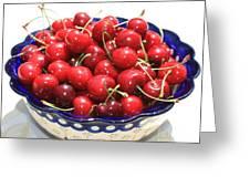 Cherries In Blue Bowl Greeting Card by Carol Groenen