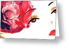 Cherry Lips Red Rose Girl Greeting Card by Jayne Logan Intveld