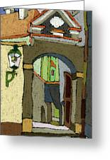 Chesky Krumlov Old Street Latran  Greeting Card by Yuriy  Shevchuk