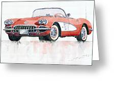 Chevrolet Corvette C1 1960  Greeting Card by Yuriy  Shevchuk