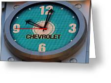 Chevy Neon Clock Greeting Card by Rob Hans
