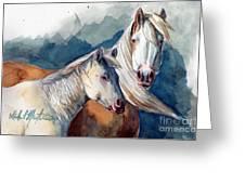 Cheyenne And Tripod Greeting Card by Linda L Martin