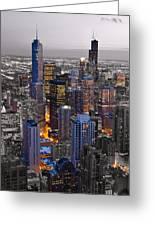 Chicago Loop Sundown Bw Color Blend Greeting Card by Steve Gadomski