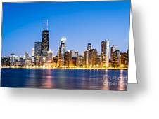 Chicago Skyline At Twilight Greeting Card by Paul Velgos