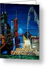Chicago Skyline Buckingham Fountain Sears Tower Trump Tower Aon Building Greeting Card by Chicago Oil Paintings By Gregory A Page
