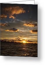 Chicago Skyline Sunset Greeting Card by Steve Gadomski