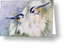 chickadee chat Greeting Card by Patricia Pushaw
