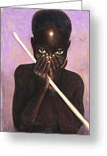 Child With Stick Greeting Card by L Cooper