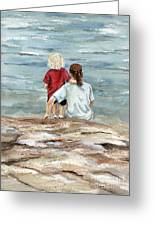 Children By The Sea Greeting Card by Nancy Patterson