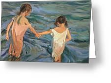Children In The Sea Greeting Card by Joaquin Sorolla y Bastida