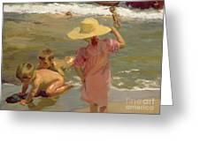 Children on the seashore Greeting Card by Joaquin Sorolla y Bastida