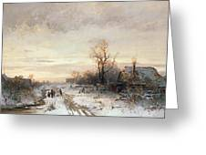 Children Playing In A Winter Landscape Greeting Card by August Fink